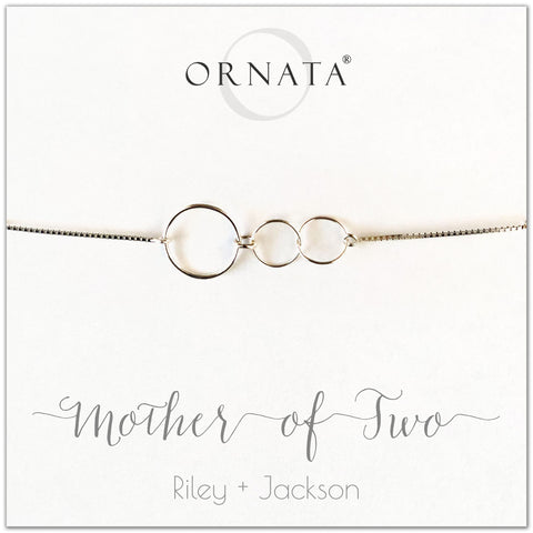 Mother of two personalized sterling silver bolo bracelet. Our custom bracelets make good gifts for moms and family. Great mother's day gift.