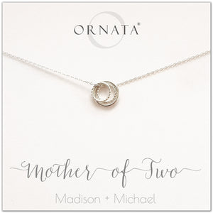 Mother's Day Jewelry - Mother of Two Sterling Silver Necklace - Personalized for Mom