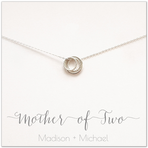 Mother of Two PERSONALIZED Sterling Silver Necklace by Ornata