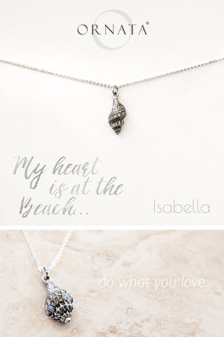"""My Heart is at the Beach"" Sterling Silver and Silver Plated Seashell Necklace"