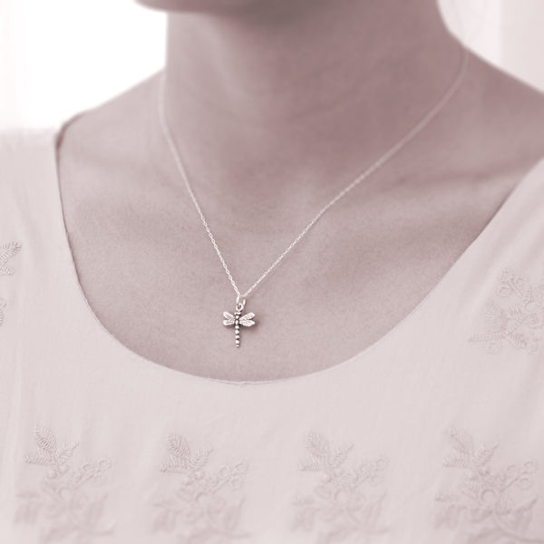 Personalized necklace - silver dragonfly necklaces  - sterling silver custom jewelry for friend or sister. Inspirational quote about luck, wisdom, and victory.