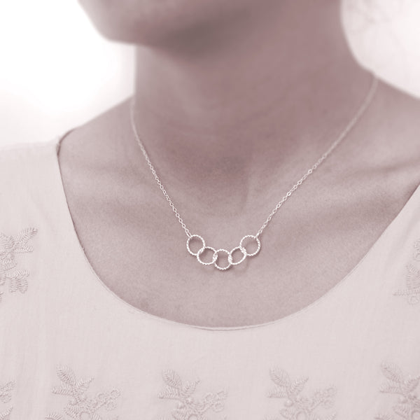 """Five Best Friends"" Sterling Silver Necklace 