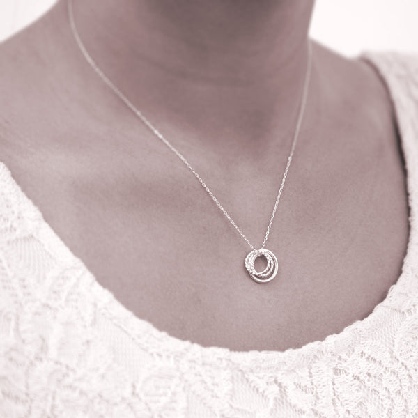 """Mother of Three"" Sterling Silver Necklace 