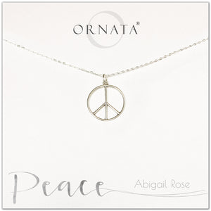 Peace necklace - personalized silver peace sign necklace. Our sterling silver custom jewelry is a perfect gift to symbolize peace with a delicate peace symbol charm.