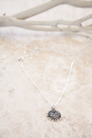 Delicate Sterling Silver and Silver Plated Sand Dollar Charm Necklace