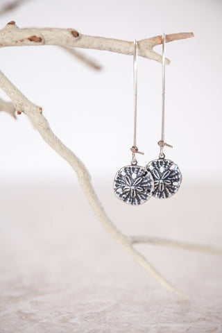 Silver Plated Sand Dollar Earrings