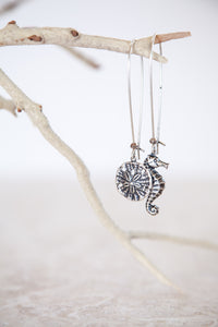 Silver Plated Sand Dollar & Seahorse Earrings