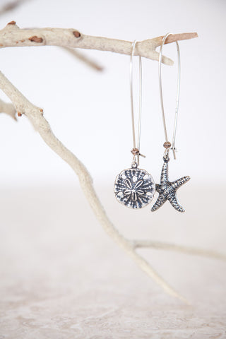 Silver Plated Sand Dollar & Starfish Earrings