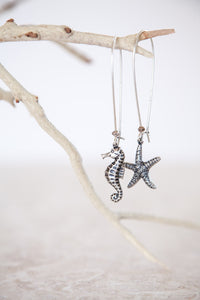 Silver Plated Brass Starfish & Seahorse Earrings