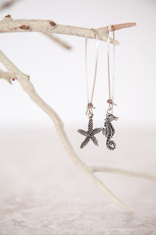 Silver Plated Pewter Starfish & Seahorse Earrings