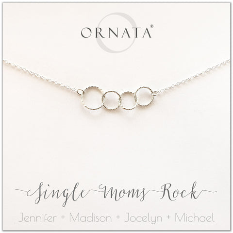 Single Moms Rock - personalized single mother necklace. Our sterling silver custom jewelry is a perfect gift for single mothers to symbolize strength, love, and unity. Great gift for Mother's Day or an anytime present for your favorite mom.