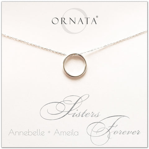 Sisters forever - personalized sisters necklace. Our sterling silver custom jewelry is a perfect gift for best friends, sisters, BFFs, and soul sisters - symbolic necklace to represent the bond between sisters with a silver ring. Good gift for best friend or sister.
