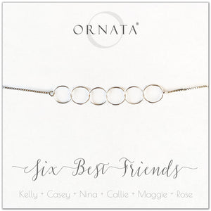 Six best friends personalized sterling silver bolo bracelet. Our custom bracelets make good gifts for best friends or sisters.