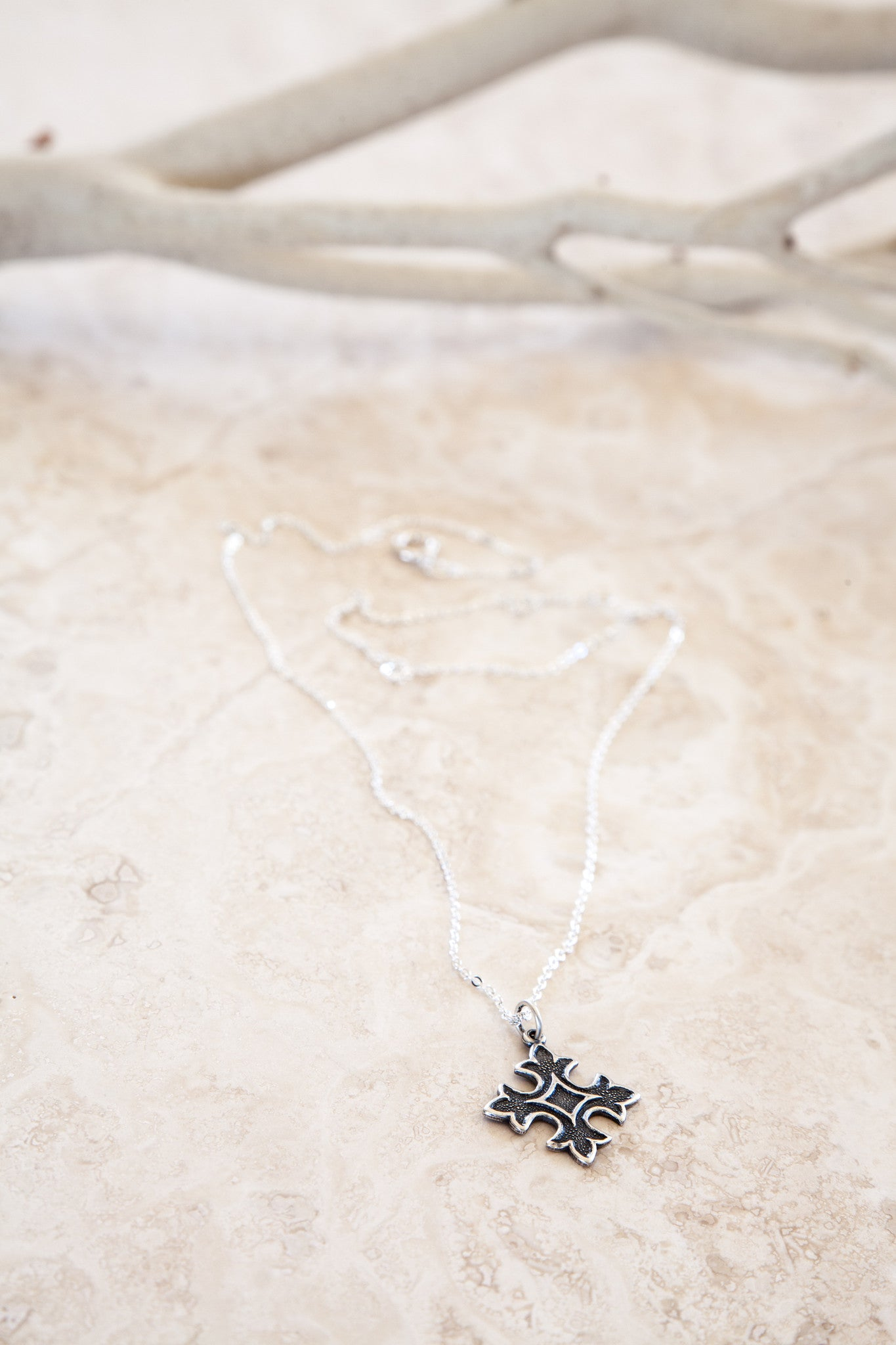 Delicate Sterling Silver and Silver Plated Small Cross Necklace
