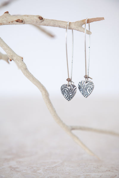 Silver Plated Small Filigree Heart Earrings