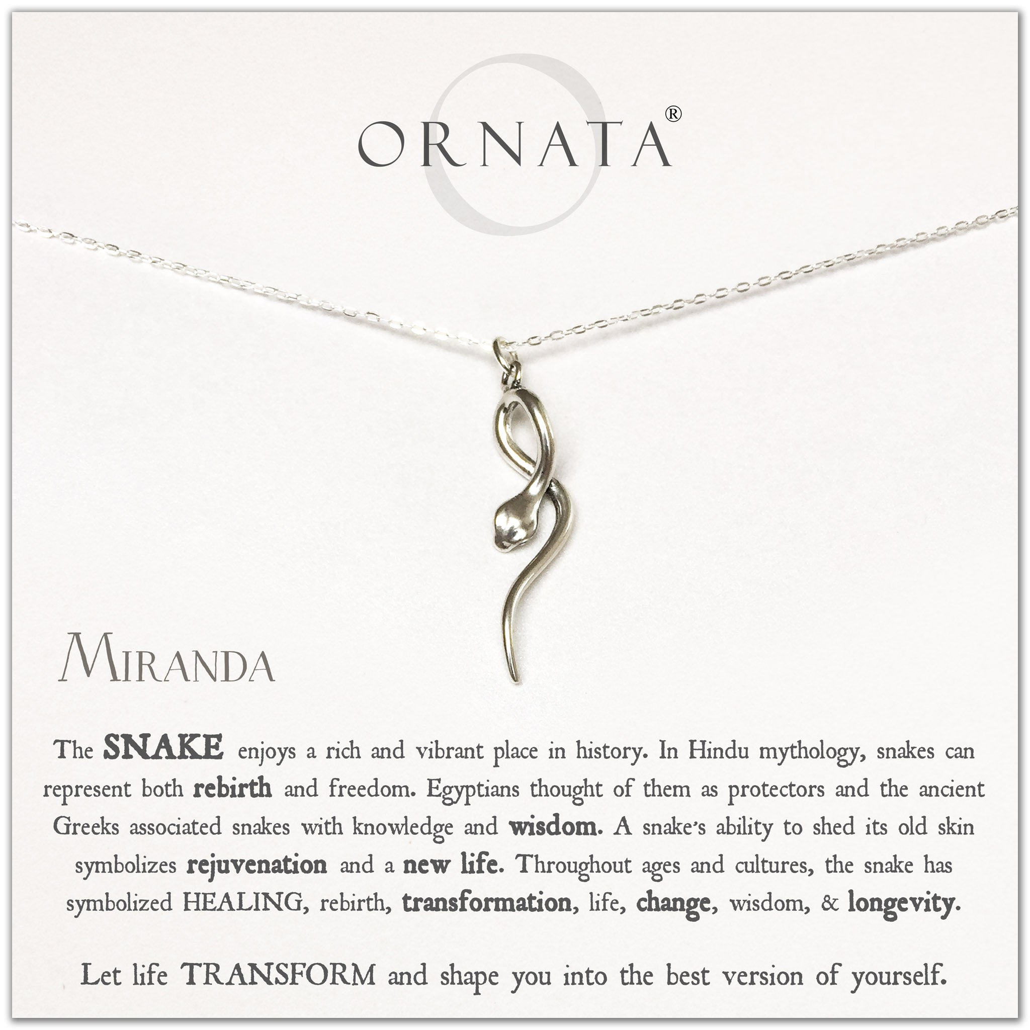Snake necklace - personalized silver snake necklace. Our sterling silver custom jewelry is a perfect gift to symbolize longevity, change, and transformation or a gift for those who love snakes.