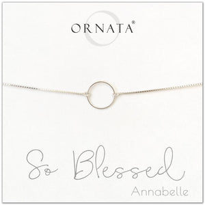 """So Blessed"" Sterling Silver Bolo Bracelet on Personalized Jewelry Card"