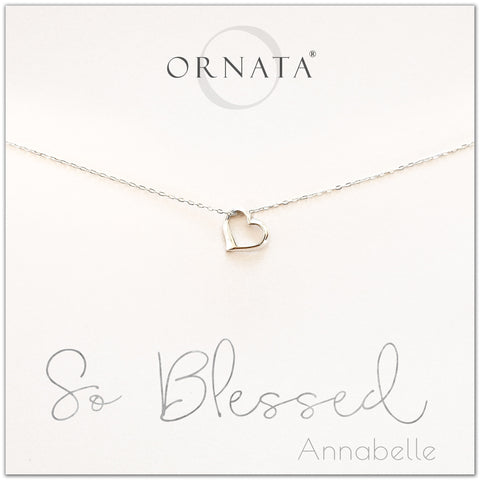 So blessed necklace - personalized silver heart necklace. Our sterling silver custom jewelry is a perfect gift for girlfriends, wives, mothers, nieces, daughters, best friends, sisters, significant others, newlyweds, and soul mates - symbolic heart necklace.