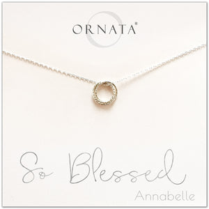 Personalized silver blessed necklace. Our sterling silver custom jewelry is a perfect gift for friends, sisters, mothers, or family members - symbolic necklace with rings to represent love, family, and blessings.