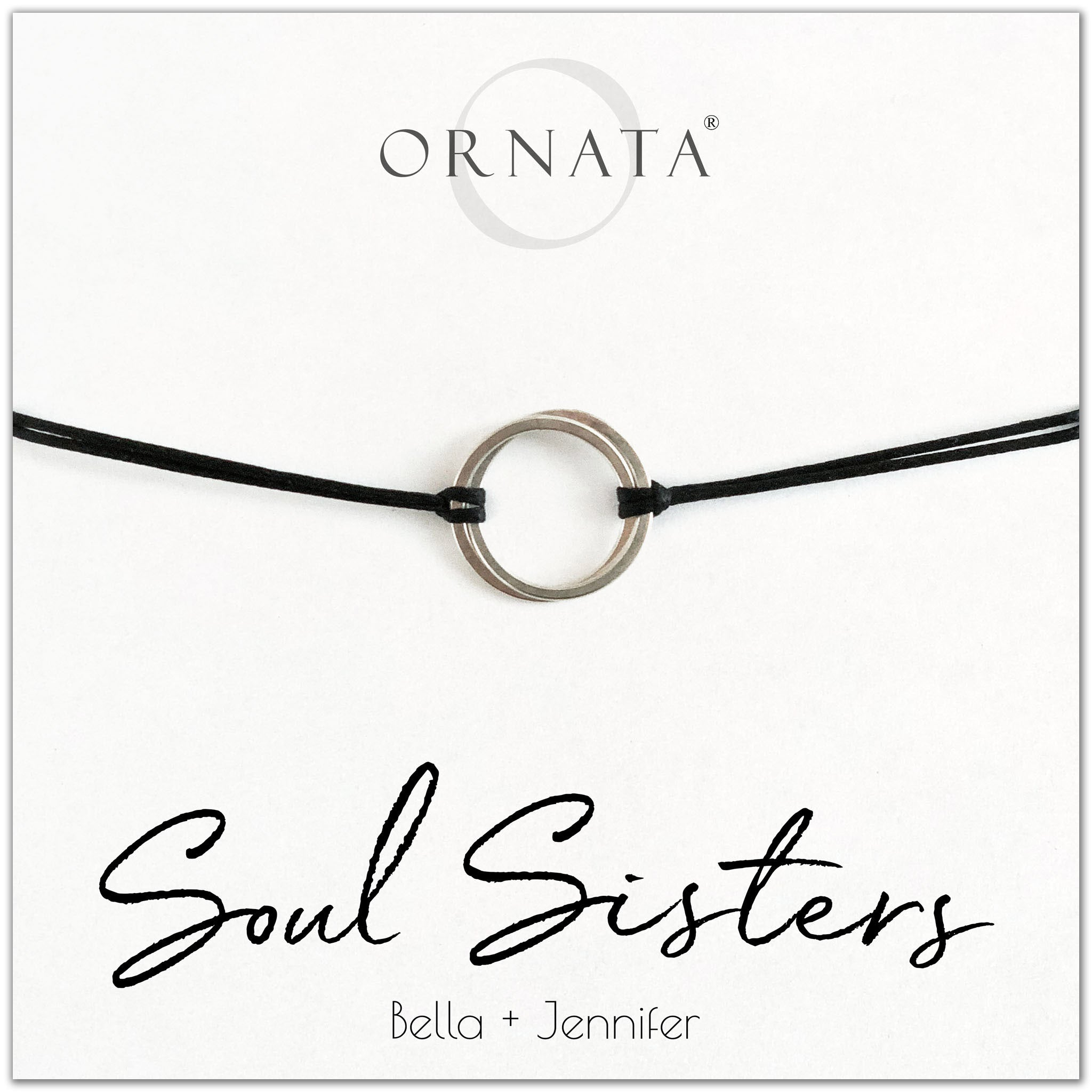 Soul sisters or best friends personalized sterling silver corded bolo bracelet. Our custom cord bracelets make good gifts for best friends or sisters or soul mates. Friendship bracelet with two sterling silver interlocking rings on black cord.
