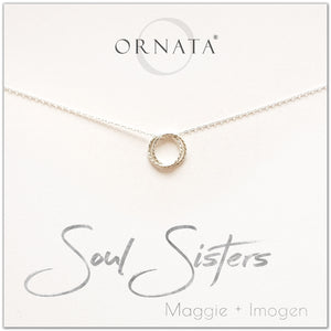Personalized soul sisters necklace. Our sterling silver custom jewelry is a perfect gift for best friends, sisters, BFFs, and soul mates - symbolic necklace to represent two soul mates with two silver rings. Good gift for best friend or sister.
