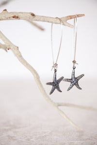 Silver Plated Brass Starfish Earrings