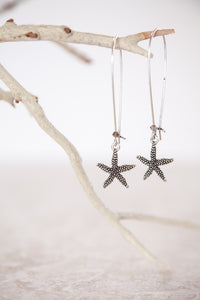 Silver Plated Pewter Starfish Earrings