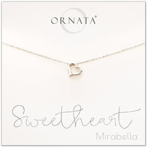 Delicate sweetheart necklace - personalized silver heart necklace. Our sterling silver custom jewelry is a perfect gift for girlfriends, wives, mothers, nieces, daughters, best friends, sisters, significant others, newlyweds, and soul mates - symbolic heart necklace.