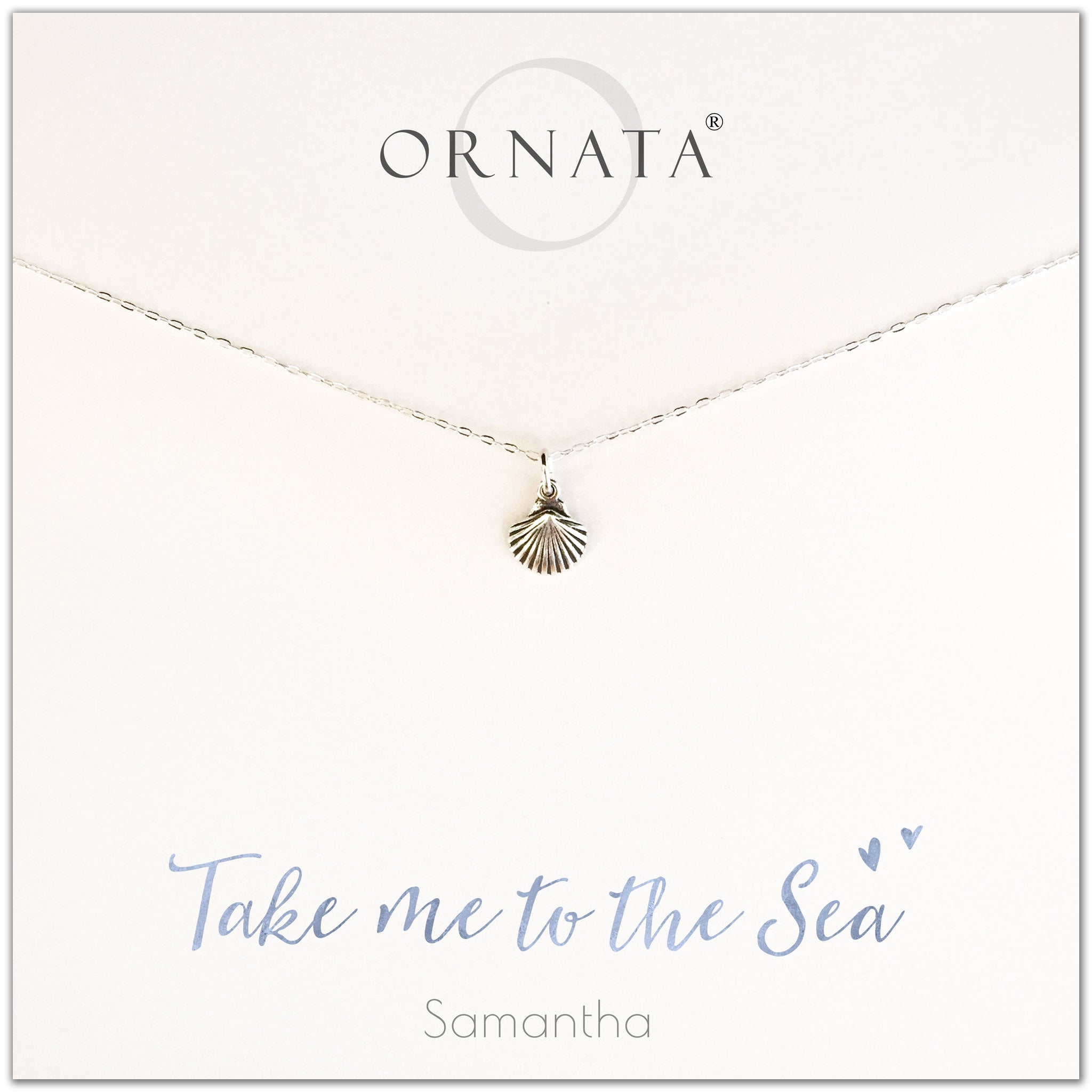 Take me to the sea. Personalized silver shell necklace. Our sterling silver custom jewelry is a perfect gift for people who love the ocean, the sea, seashells, or the beach.