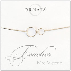Personalized sterling silver bolo bracelet for teacher. Our custom bracelets make good gifts for teachers.