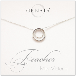 82fb04440 Teacher gift - personalized silver teacher necklace. Our sterling silver  custom jewelry is a perfect