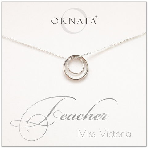 Teacher gift - personalized silver teacher necklace. Our sterling silver custom jewelry is a perfect gift for teachers.