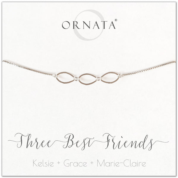 Three best friends personalized sterling silver bolo bracelet. Our custom bracelets make good gifts for best friends or sisters.