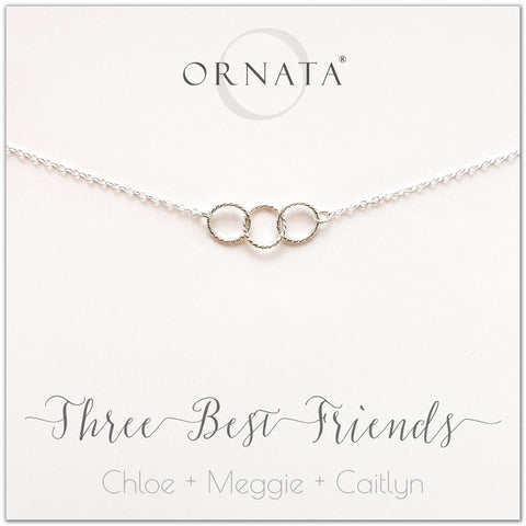 Personalized three best friends necklace. Our sterling silver custom jewelry is a perfect gift for best friends, sisters, and BFFs - symbolic necklace to represent three best friends with three silver interlocking rings. Good gift for best friend or sister.