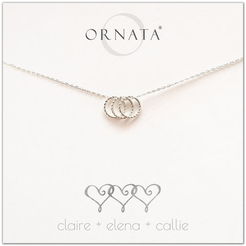 Personalized three hearts necklace. Our sterling silver custom jewelry is a perfect gift for best friends, sisters, BFFs, moms, families - symbolic necklace to represent three friends or family members with three silver interlocking rings. Good gift for best friend or sister or mom.