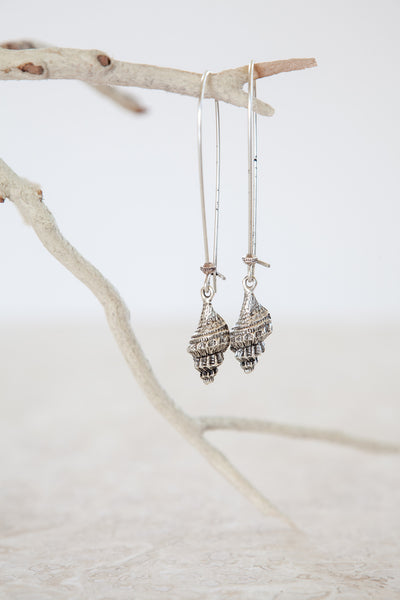 Silver Plated Trumpet Shell Earrings