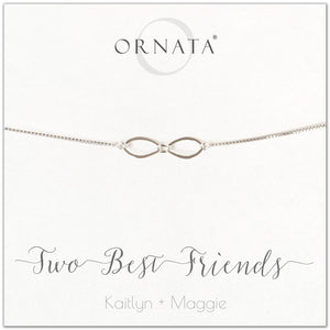 Two best friends personalized sterling silver bolo bracelet. Our custom bracelets make good gifts for best friends or sisters.