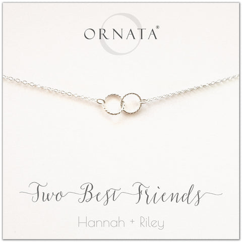 Personalized best friends necklace. Our sterling silver custom jewelry is a perfect gift for best friends, sisters, BFFs, and soul mates - symbolic necklace to represent two best friends with two silver interlocking rings. Good gift for best friend or sister.