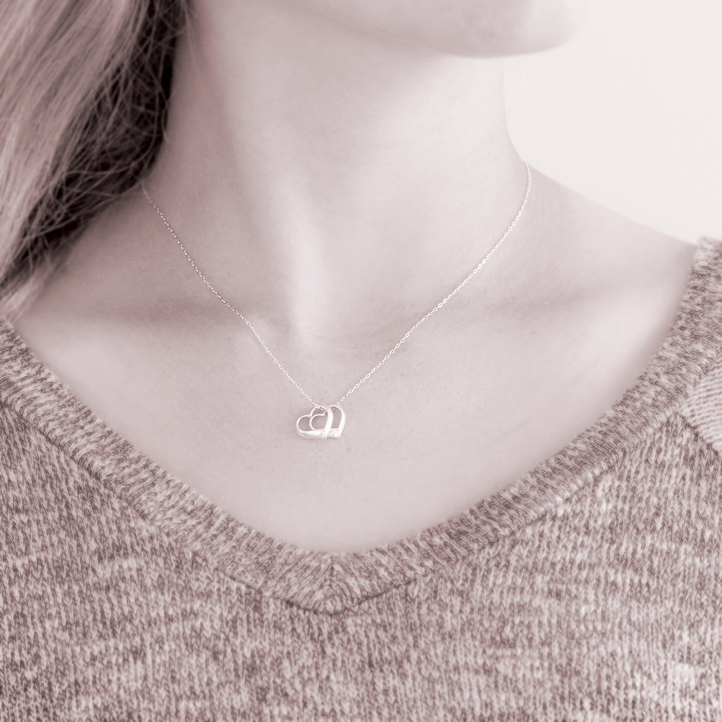 Two hearts one soul customized sterling silver jewelry ornata two hearts one soul sterling silver necklace floating hearts aloadofball Image collections