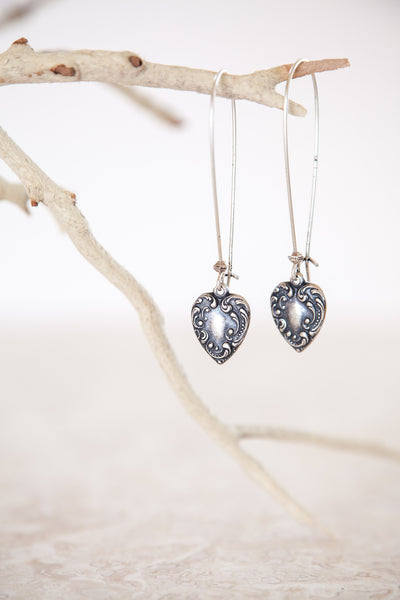 Silver Plated Victorian Heart Earrings