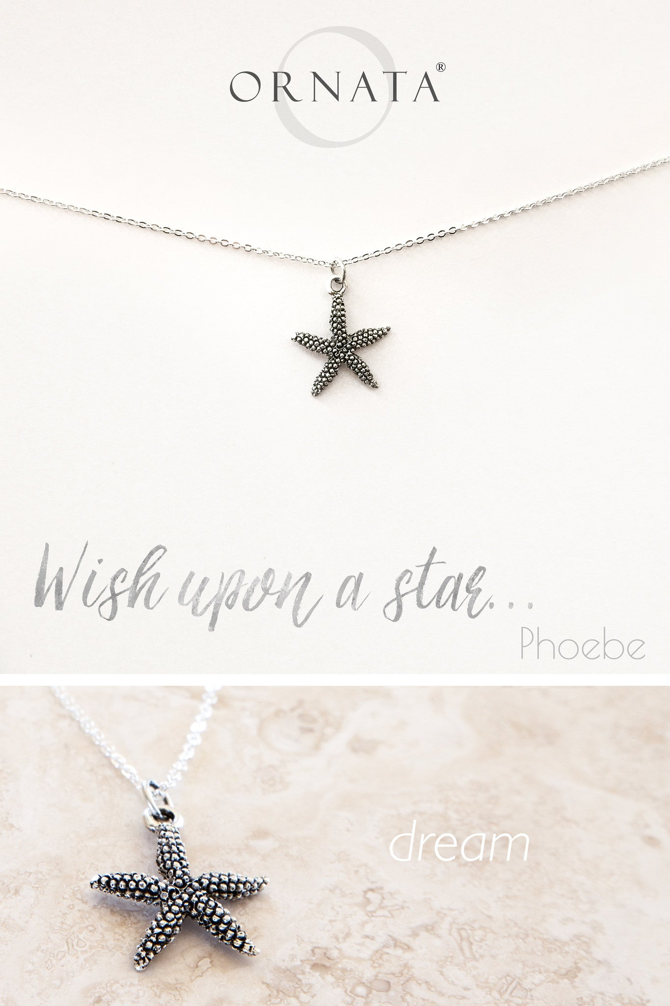 """Wish Upon a Star"" Delicate Starfish Sterling Silver and Silver Plated Necklace"