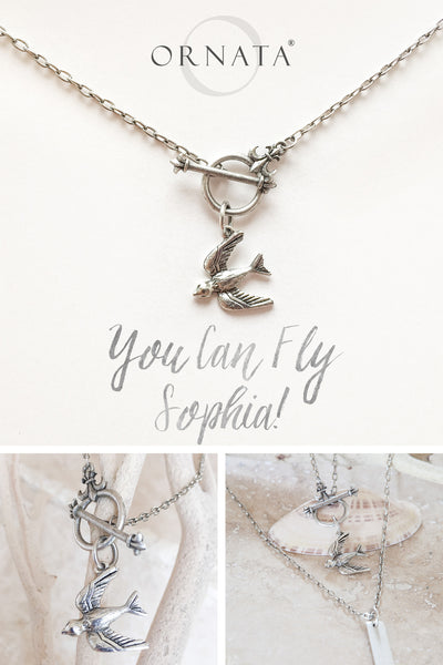 """You Can Fly"" Swallow Necklace w/ Fleur-de-Lis Toggle"