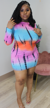 KELLI SKY TIE DYE MINI DRESS - Spice Boutique
