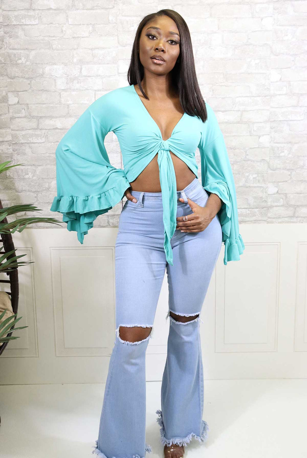 ANGELIC SPRING FLARE BLOUSE - Spice Boutique