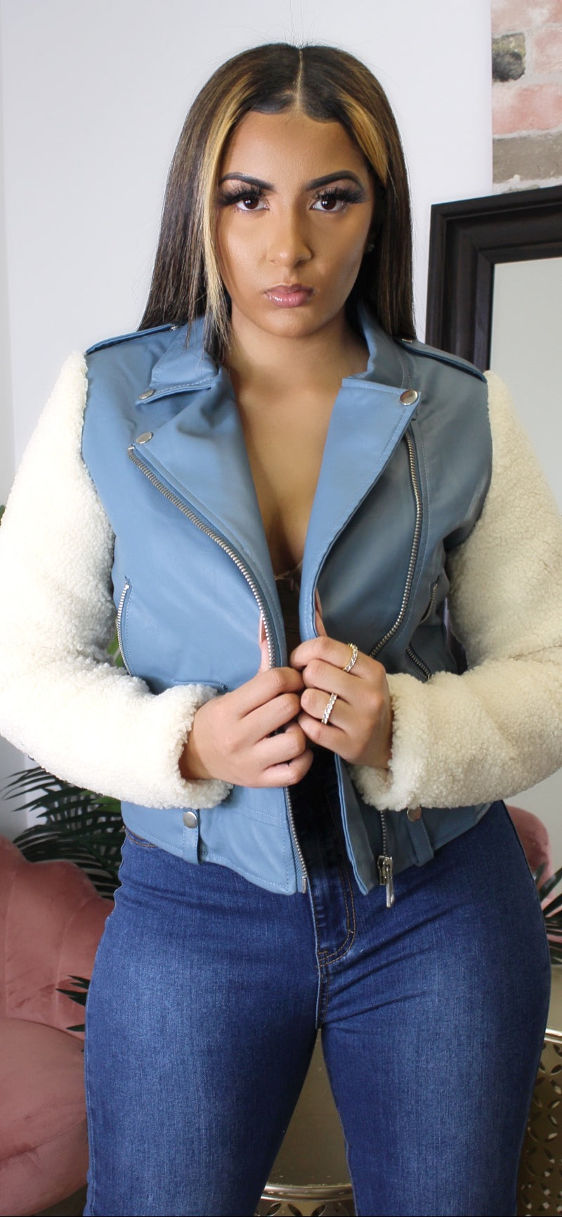 FAUX LEATHER JACKET WITH WOOL SLEEVES - Spice Boutique