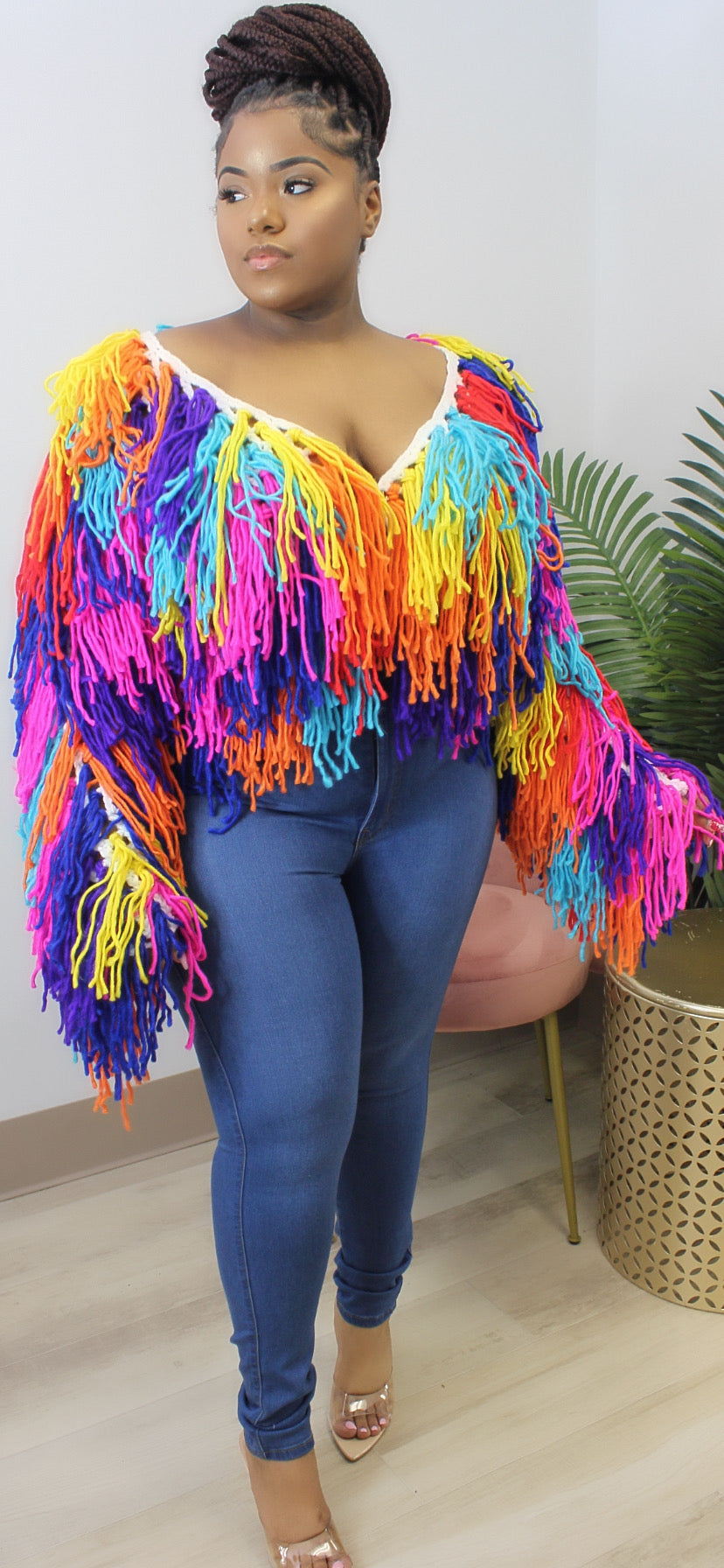 POP OF COLOR SHAGGY CARDIGAN (ONE SIZE) - Spice Boutique