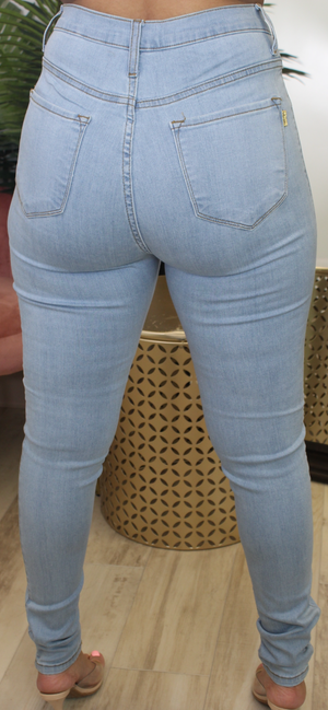 BEST FIT HIGH WAIST DENIM JEANS-LIGHT - Spice Boutique