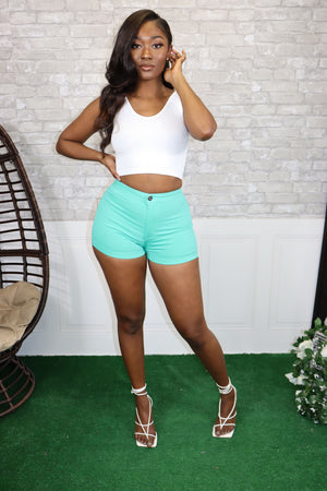 SUPER STRETCHY SHORTS-MINT - Spice Boutique