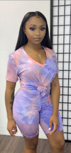 TWIST BASIC SHORT V NECK SET-TIE DYE PINK - Spice Boutique