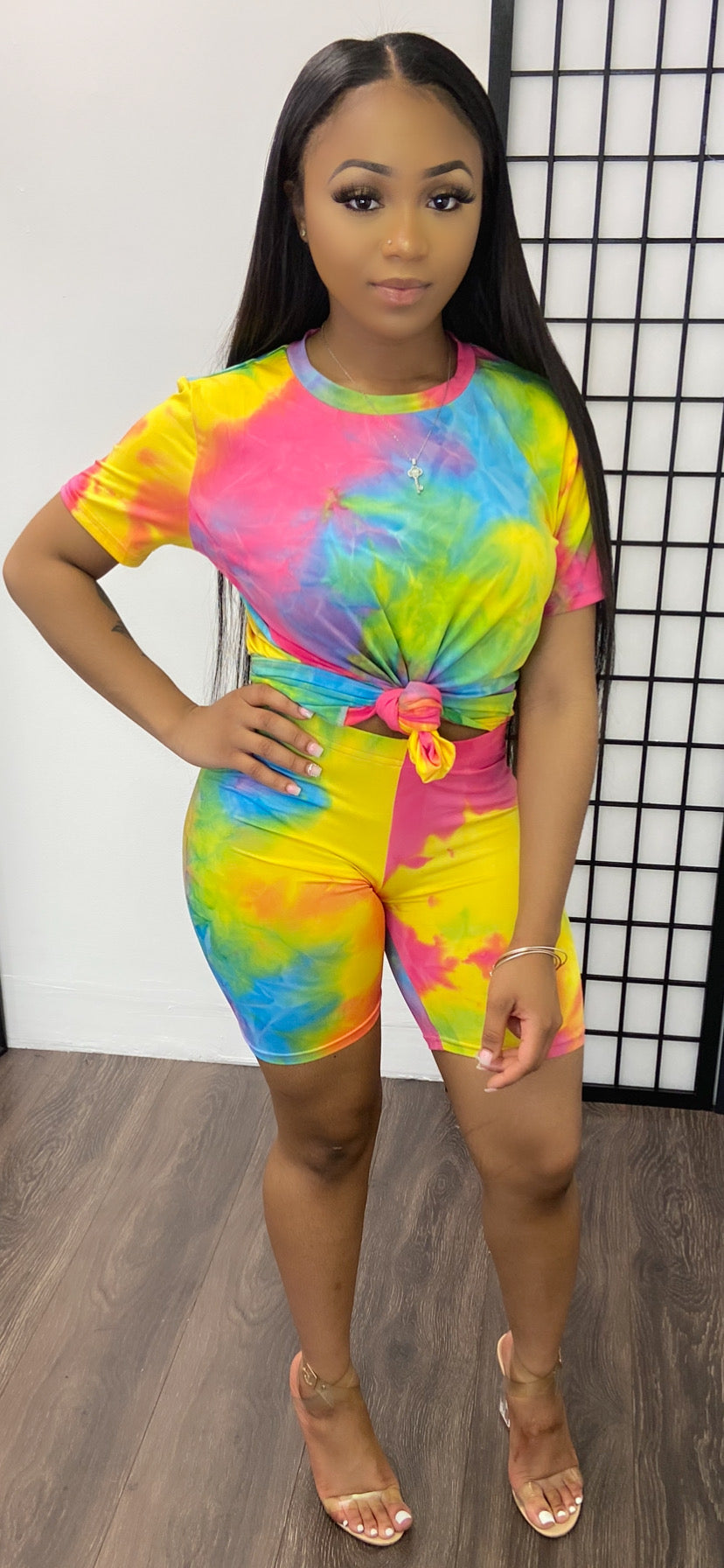 CURVE TWIST BASIC SHORT SET-TIE DYE - Spice Boutique